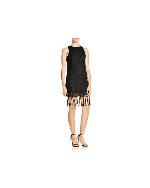 Lush | Black Lace Fringe Trim Dress | Lyst