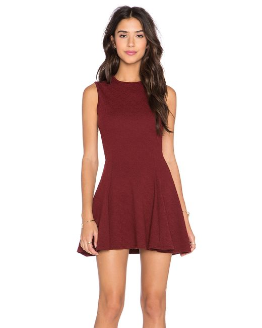 Bishop + young Fit N Flare Mini Dress in Red (Burgundy) - Save 30% ...