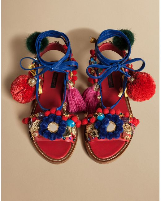 Dolce Amp Gabbana Pom Pom Leather Lace Up Sandals In Red Lyst