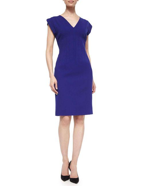 ESCADA | Purple Short-sleeve Vertical Seam Sheath Dress | Lyst