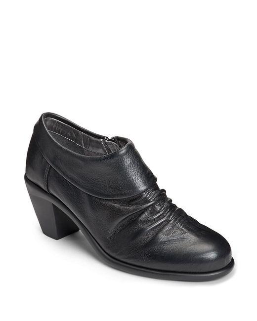 Aerosoles | Black Lock N Key Leather Ruched Booties | Lyst