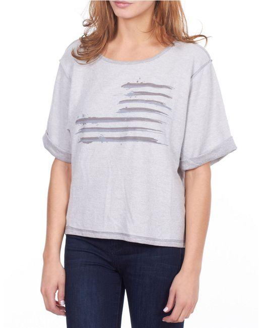 William Rast | Gray Flag Sweatshirt | Lyst