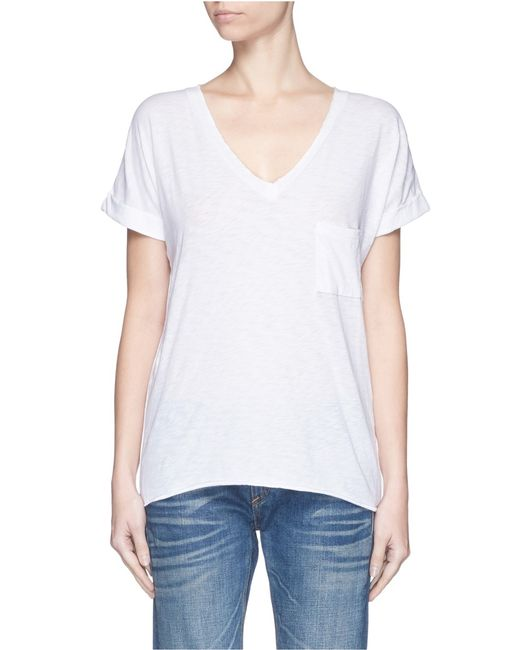 Rag Bone Chest Pocket V Neck Cotton T Shirt In White Lyst