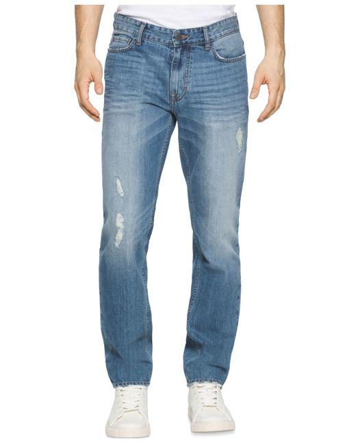 calvin klein jeans men 39 s slim straight fit jeans in blue. Black Bedroom Furniture Sets. Home Design Ideas