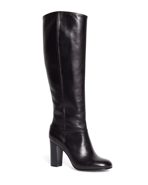 brothers leather stacked heel boots in black