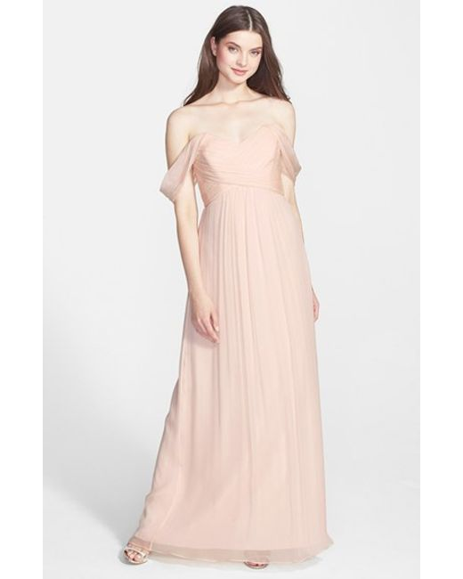 Amsale | Pink Convertible Crinkled Silk Chiffon Gown | Lyst