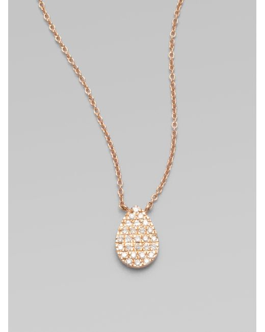 Diane Kordas | Pink Diamond & 18k Rose Gold Teardrop Necklace | Lyst