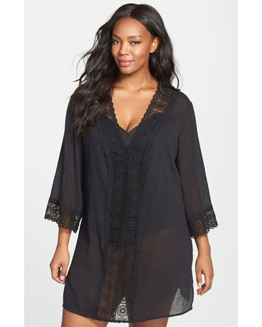 La Blanca | Black 'island Fare' V-neck Tunic Cover-up | Lyst