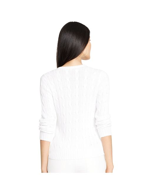 Polo Ralph Lauren | White Cable-knit V-neck Sweater | Lyst