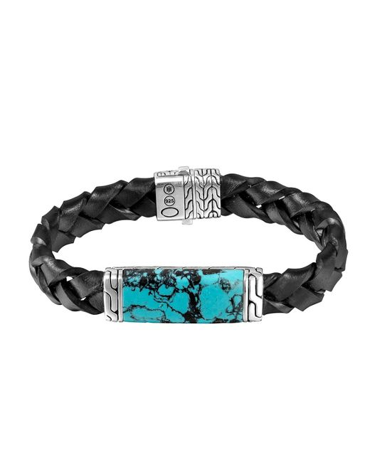 John Hardy Woven Station And Turquoise Stone Bracelet In