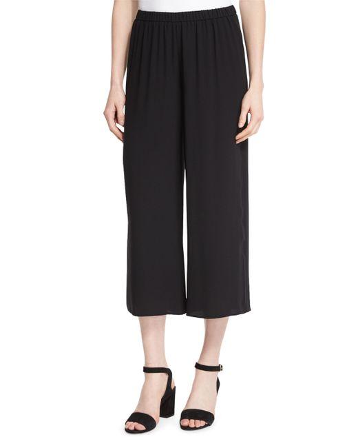 Eileen Fisher Wide Leg Silk Georgette Cropped Pants In