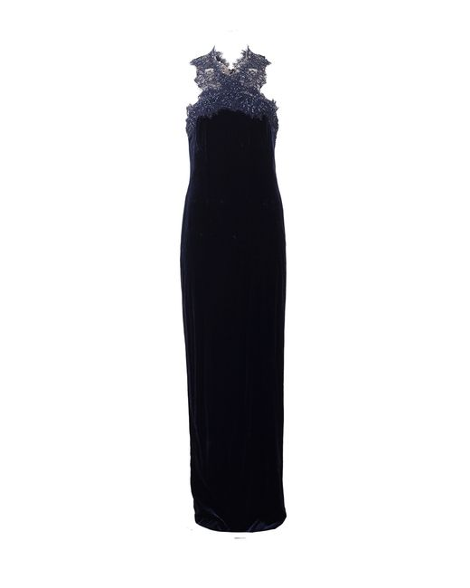 Notte by Marchesa | Blue Embellished Velvet Column Gown | Lyst