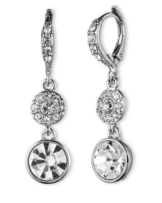 Givenchy | Metallic Crystal Linear Earrings | Lyst