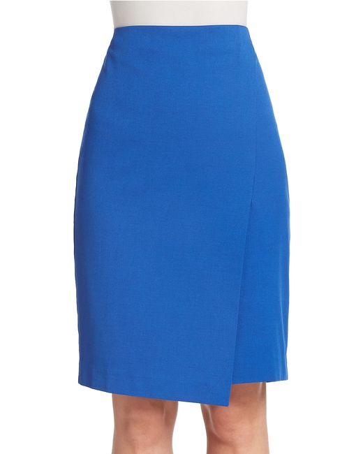 Lord & Taylor | Blue Petite Solid Wrap Pencil Skirt | Lyst