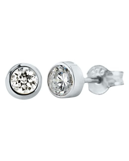 Ib&b | Metallic 9ct White Gold Small Rubover Cubic Zirconia Stud Earrings | Lyst