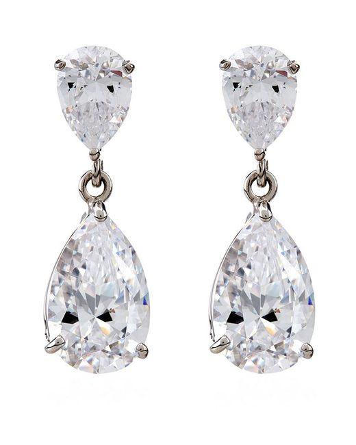 Carat* | Metallic Diamond Pear Drop Earrings | Lyst