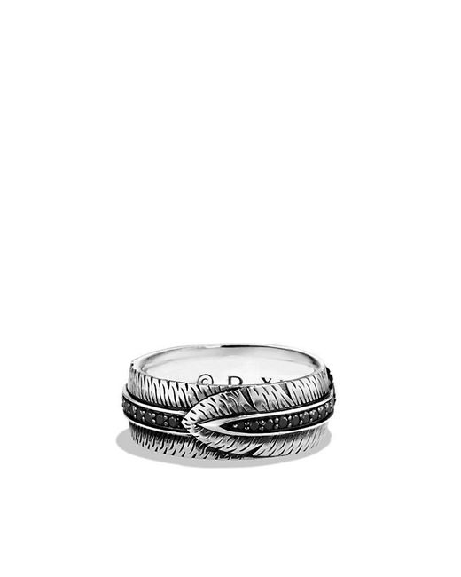 David Yurman | Metallic Frontier Feather Band Ring With Black Diamonds for Men | Lyst