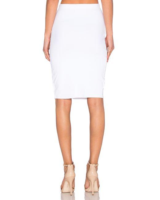 donna mizani side slit midi skirt in white lyst