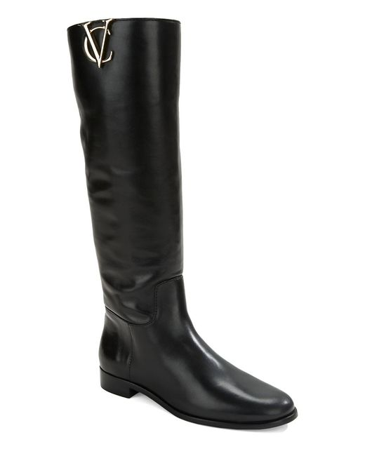 vince camuto signature rena leather riding boots in black