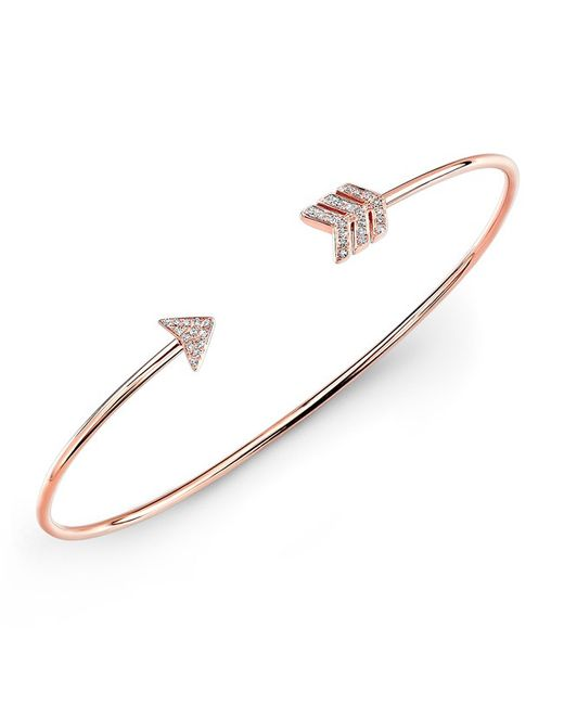 Anne Sisteron - Metallic 14kt Rose Gold Diamond Arrow Cuff - Lyst
