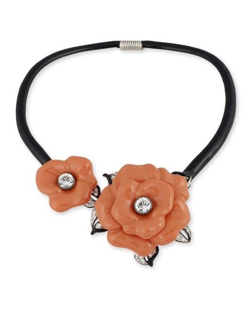 Kenneth Jay Lane   Orange Coral Flower Collar Necklace   Lyst