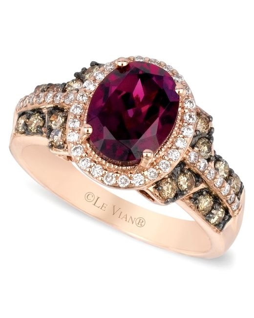 Le Vian | Red Raspberry Rhodolite Garnet Chocolate And White Diamond Oval Ring (2-3/4 Ct. T.w.) In 14k Strawberry Rose Gold | Lyst