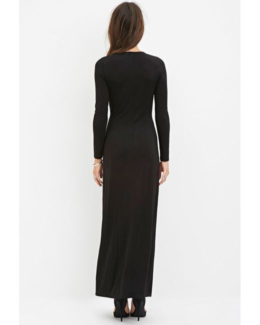 Forever 21 | Black Twist-front Maxi Dress | Lyst
