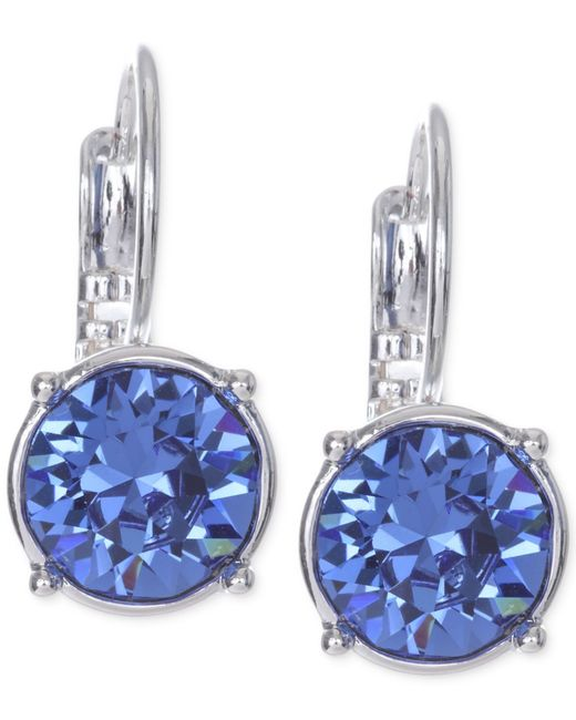Nine West | Blue Silver-tone Crystal Stone Drop Earrings | Lyst