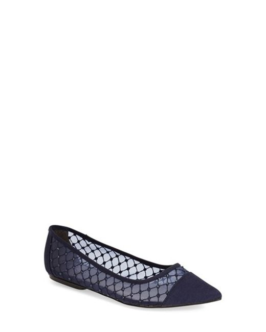 Adrianna Papell | Blue Jeweled Mesh Ballet Flats | Lyst