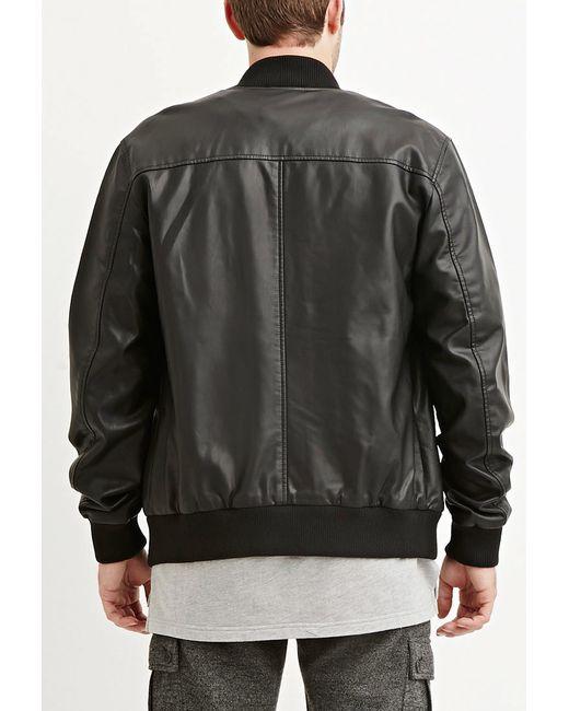 Forever 21   Black Faux Leather Bomber Jacket for Men   Lyst