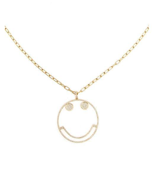 Rosa De La Cruz   Metallic Smiley Diamond Pendant Necklace   Lyst