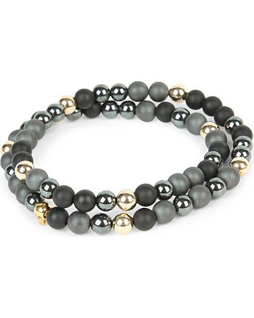 Nialaya | Gray 14ct Gold Skull, Matte Onyx And Matte Hematite Beaded Bracelet | Lyst