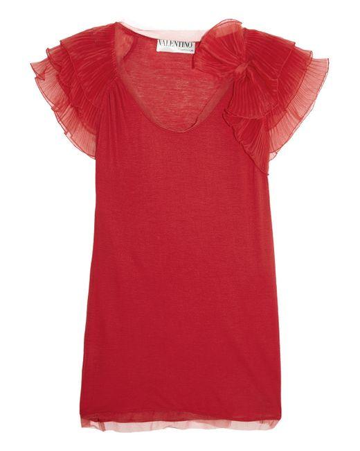 Valentino | Red Plissã© Organza-Trimmed Stretch-Jersey Top | Lyst