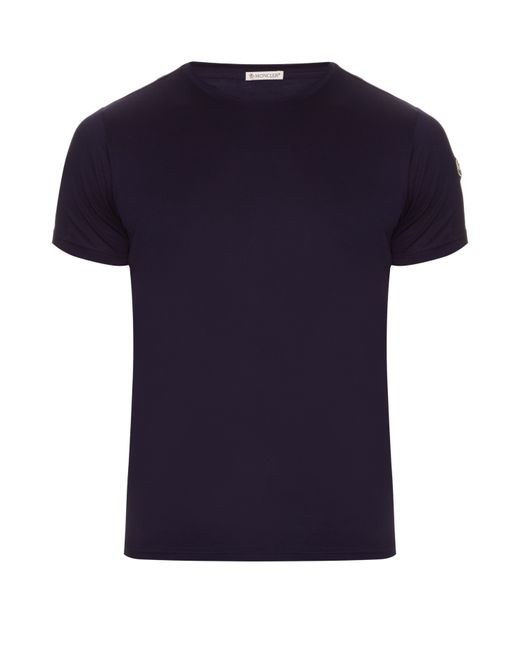 Moncler striped trimmed cotton t shirt in blue for men for Off white moncler t shirt
