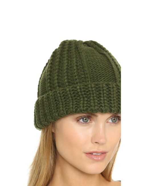 1717 Olive   Green Cable Knit Beanie   Lyst