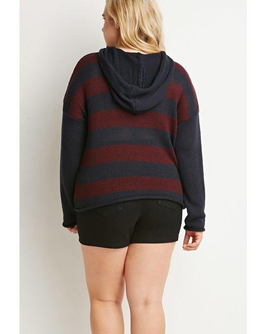 Forever 21 | Blue Hooded Stripe Sweater | Lyst