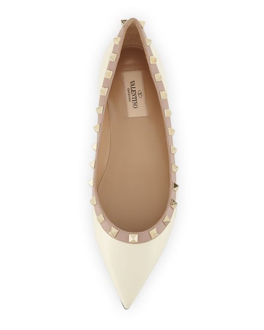 Valentino | White Rockstud Leather Ballerinas | Lyst