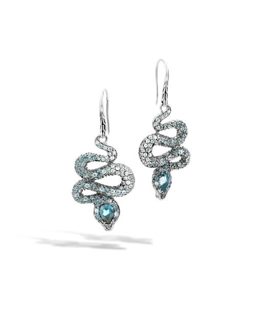 John Hardy | Cobra Drop Earring With London Blue Topaz And Diamonds | Lyst