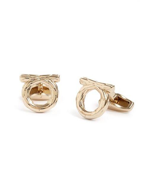 Ferragamo | Metallic 'gancio Knot' Cuff Links for Men | Lyst