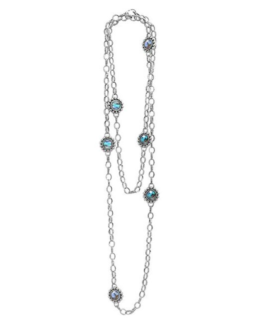 Lagos | Metallic Silver Maya Abalone Chain Link Necklace | Lyst