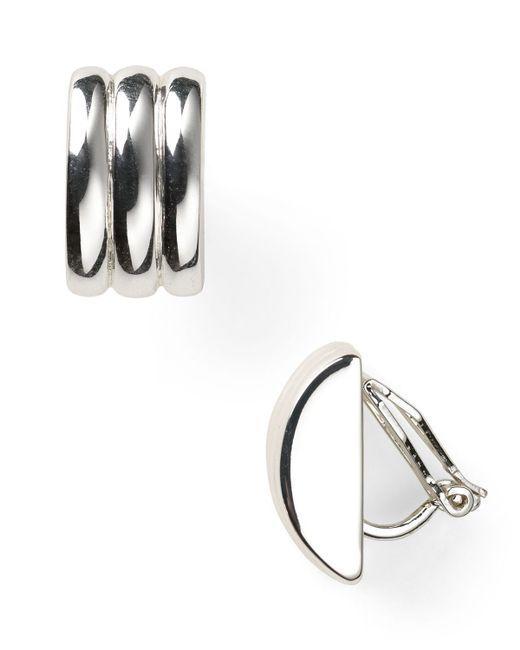 Pink Pony | Metallic Lauren Ridged Huggie Hoop Clip Earrings | Lyst