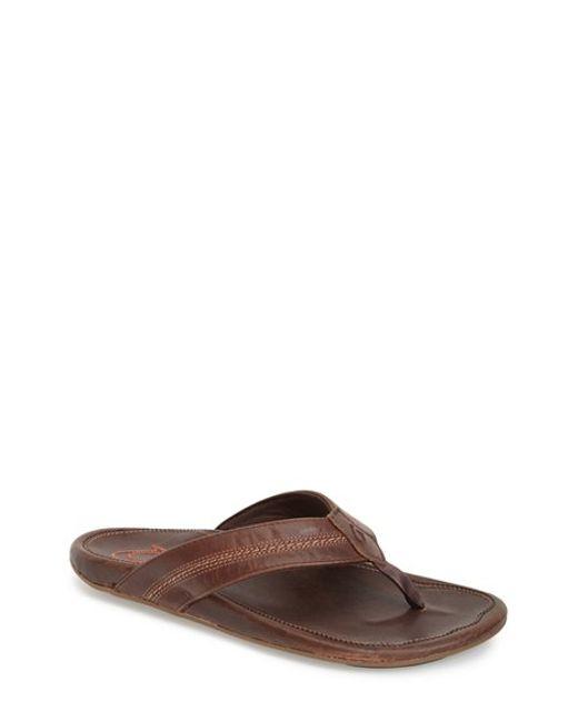Olukai | Brown 'maka' Leather Flip Flop for Men | Lyst