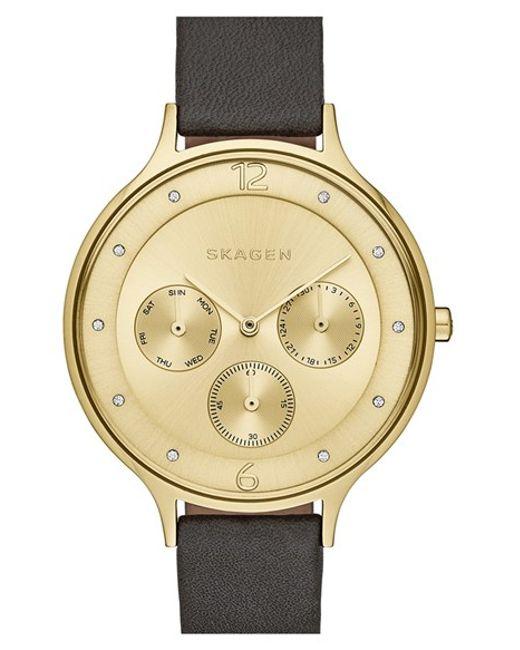 Skagen | Black 'anita' Multifunction Leather Strap Watch | Lyst