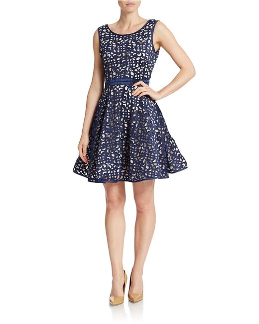 Xscape | Blue Laser-cut Fit-and-flare Dress | Lyst