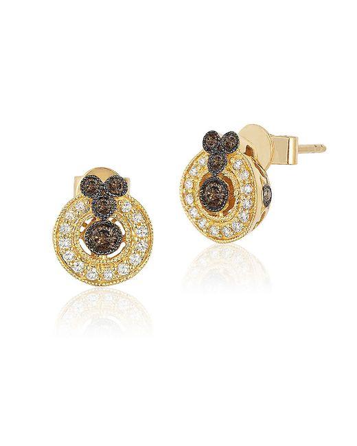 Le Vian Metallic 14k Gold Chocolate Deco Diamond Earrings