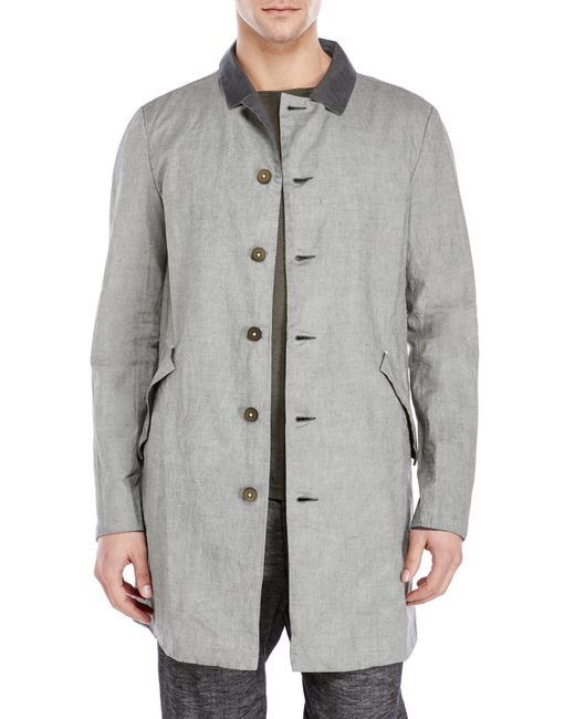 Transit Uomo Grey Linen Trench Coat In Gray For Men Grey