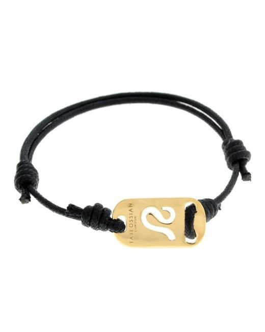 Tateossian | Zodiac 18k Yellow Gold Leo Black Waxed Cord Bracelet for Men | Lyst
