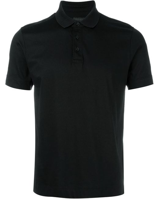 Z zegna classic polo shirt in black for men lyst for Zegna polo shirts sale