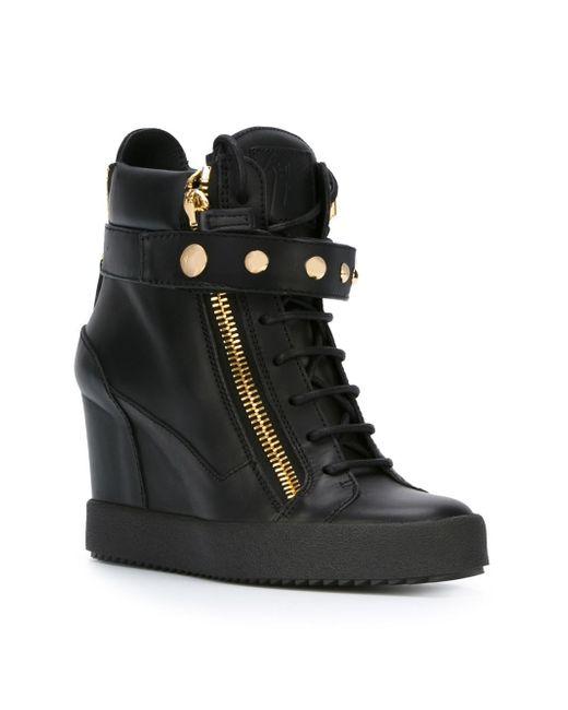 Giuseppe zanotti Wedge Hi-top Sneakers in Black | Lyst