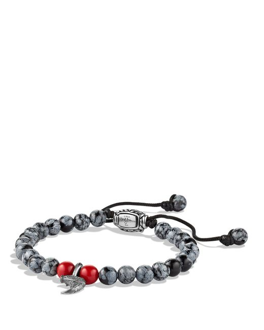 David Yurman | Metallic Cable Leather Bracelet In Red | Lyst